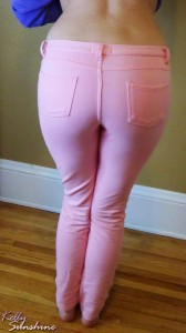 Sexy round ass and long legs in pink jeggings